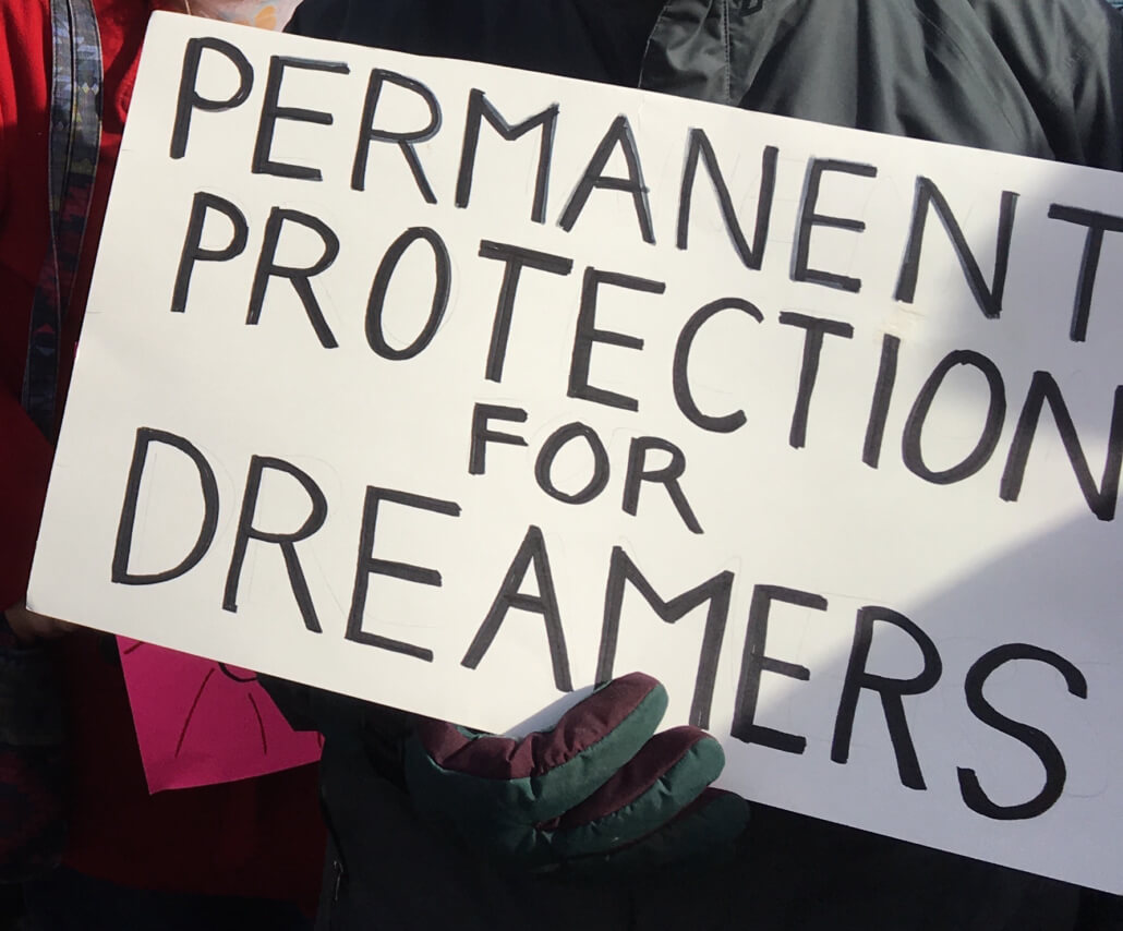 Rally sign: permanent protection for dreamers.