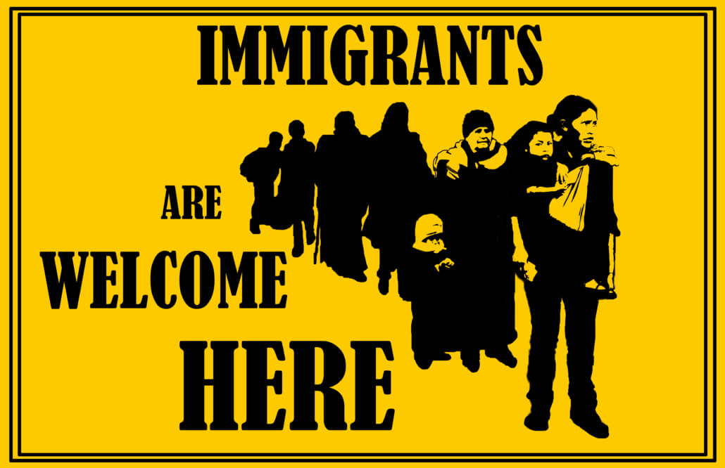 Graphic: Immigrants Welcome by Yakira Teitel, Justseeds